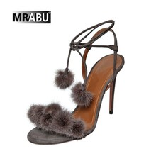 hottest selling genuine leather 2017 summer stiletto heel cross straps high heel pom pom sandals