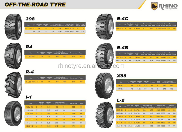 RHINO KING tube type 18.00-25 otr tyre L-5S with GCC CCC ISO ECE REACH Certificate