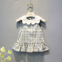 Lovely Flower Falbala Grid Design Summer 2 Year Old Girl Daily Wear Dress