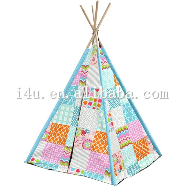 Colorful Cotton canvas Patchwork outdoor Indoor Girl Play Indian Style Teepee Tent