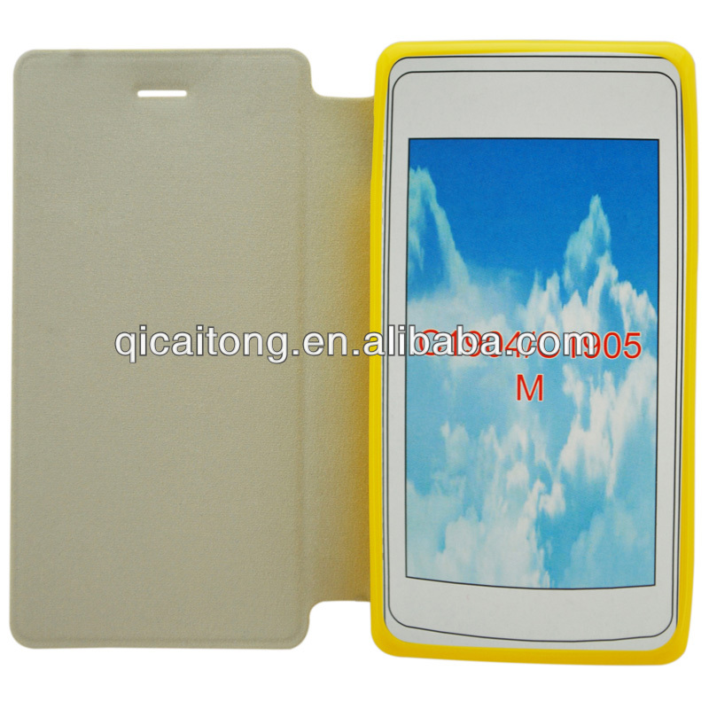 flip cover tpu+pu leather case for Sony xperia m C1905