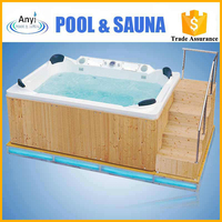 Modern luxurious outdoor massage rectangular hot spa tub/bathtub with for home