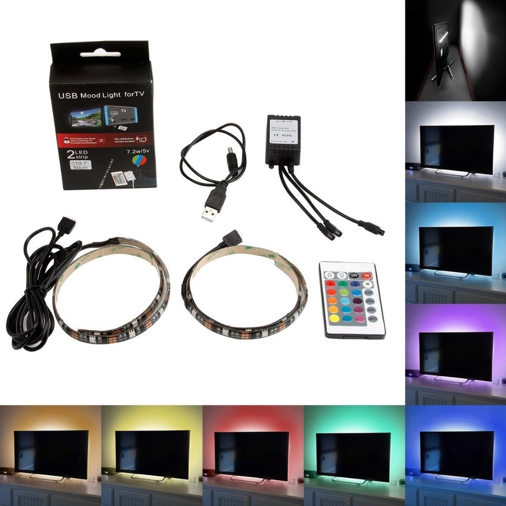 5050 RGB 2x50cm USB LED Light Strip Kit Flexible Adhesive Back Tape + 24 Remote Control LED Strip Light for HDTV TV Monitor