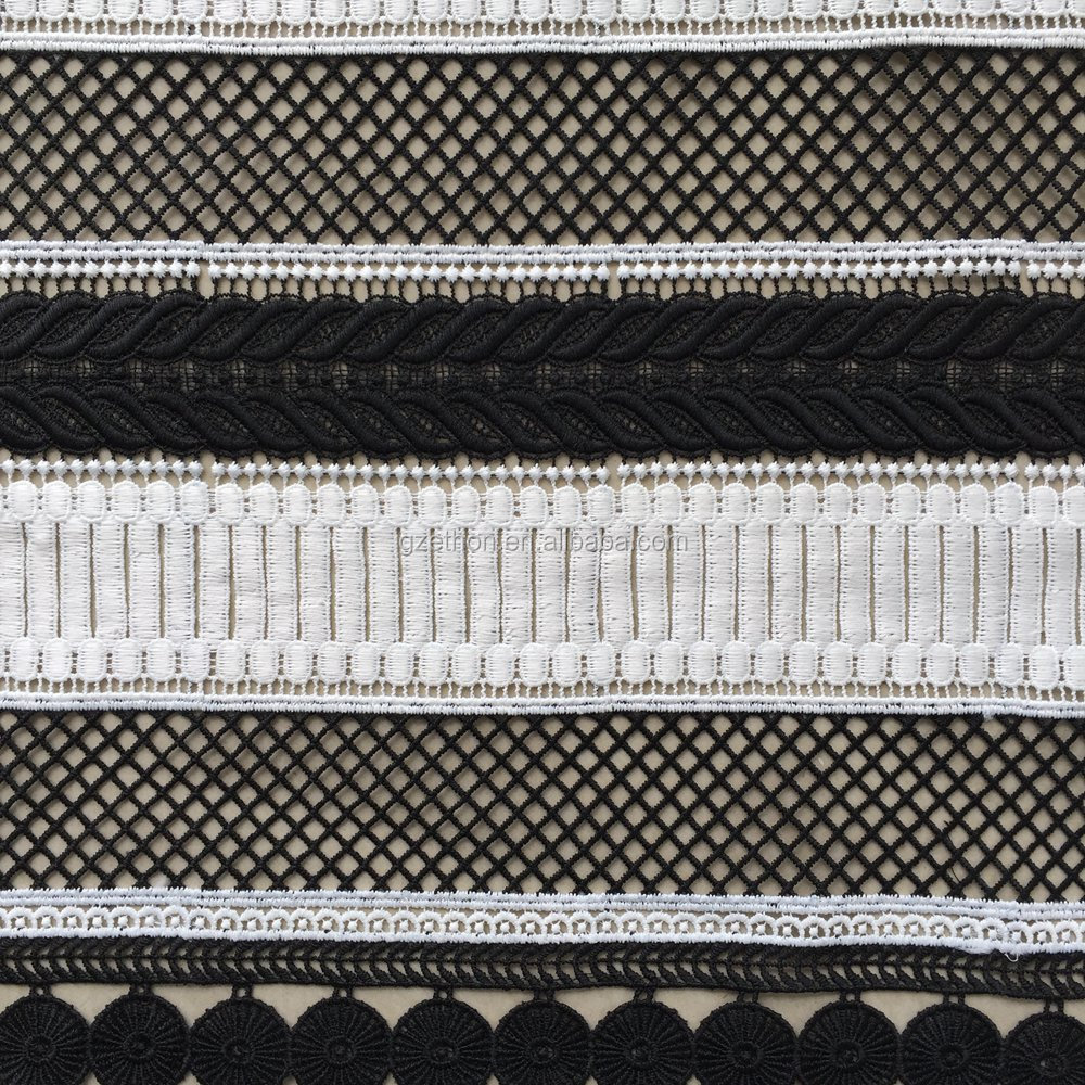 China supplier top quality 100 polyester black and white striped design Italy chemical embroidery lace fabric for dress