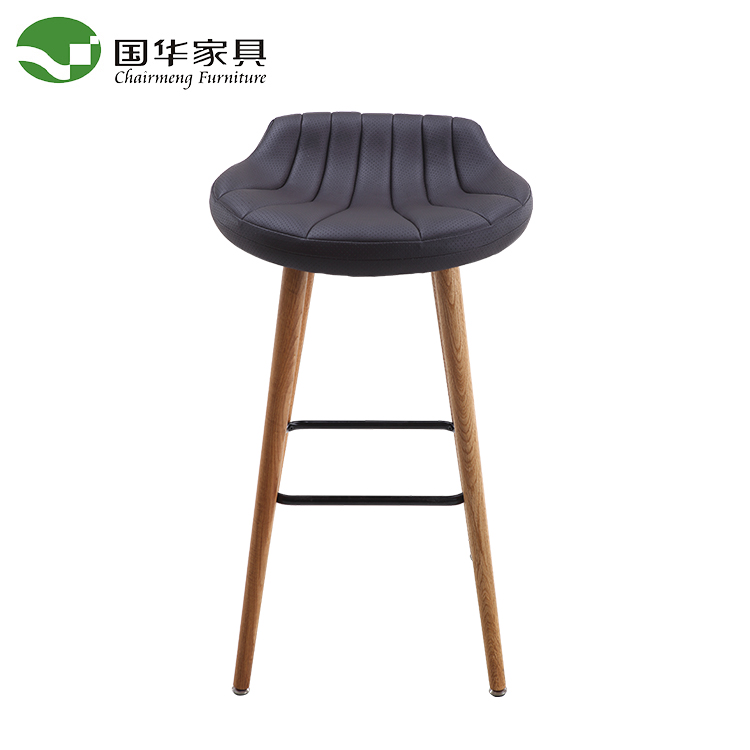 High quality bar chair with rubber wooden leg with metal footrest
