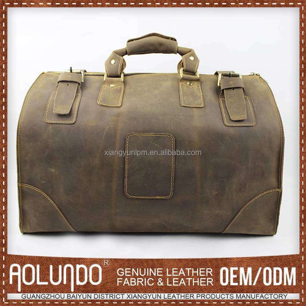 Best selling mens leather travel bag wholesale genuine duffel bag genuine leather travel bag