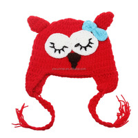 Cheap newborn baby red owl pattern knitting hat lovely animal toddler girls boys winter crochet warm hats