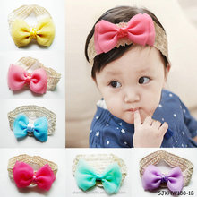 cute elastic infant toddler baby girls flower lace headband headwear hair band