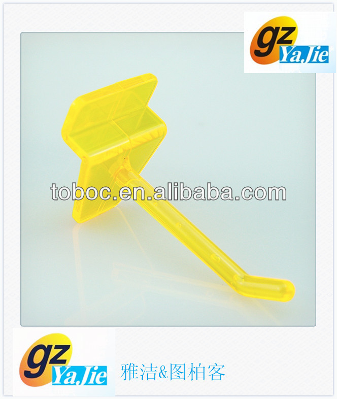 yellow plastic slatwall hook for supermarket