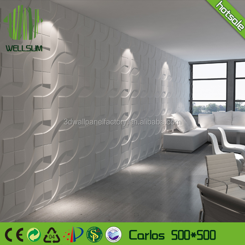 Waterproof and fireproof natural Bamboo fiber 3D waving textured wall panel 3d glazed tile for wall ceiling decorative paintable
