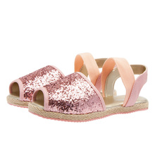 Fashion and sexy style glitter upper with webbing hemp rope sole kid sandal