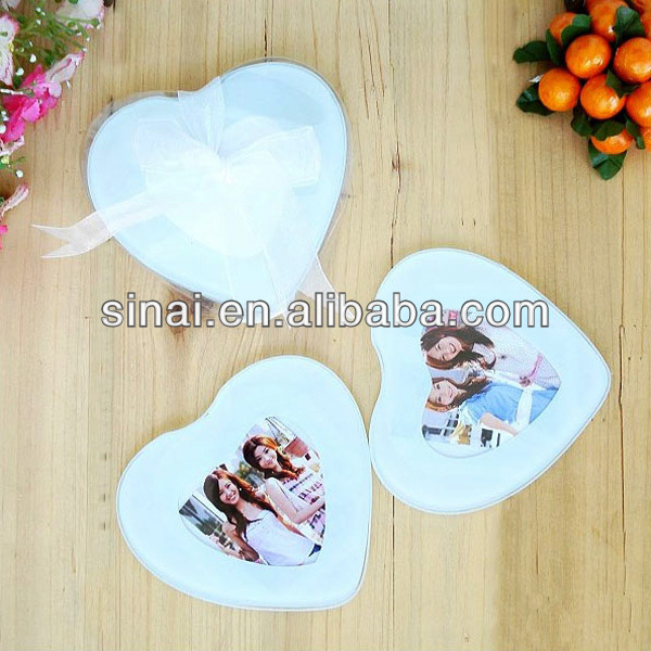 Factory Price Popular Personalized Heart Shape Frame Glass Coaster