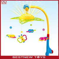 Fun musical flower infant bed bell plastic baby mobile with light