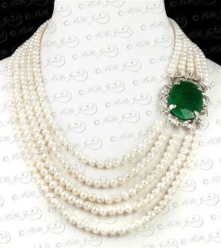 Freshwater Pearl Necklace With Emerald Clasp in Hamilton