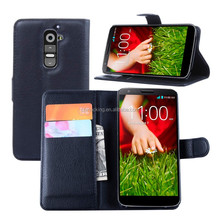 Wallet Style PU Leather Cover 2 Credit Card Stand Flip Case For LG G2