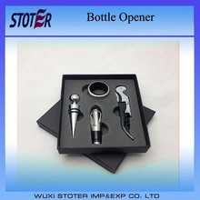 Wine Bottle Opener 4pc Tool Set Corkscrew Pourer Stopper Drip Ring Aerator Gift