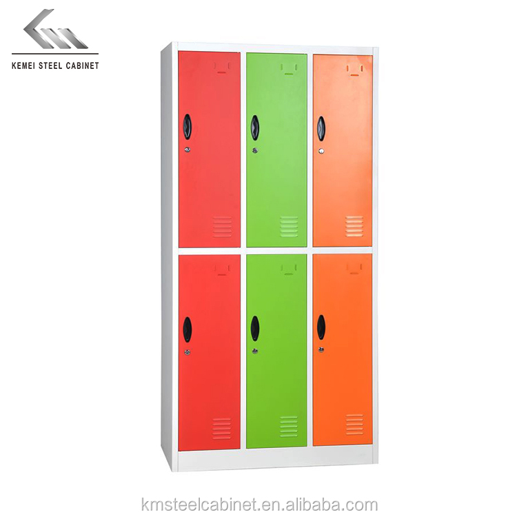 Hot sale metal colorful storage clothes wardrobe 6 doors gym locker steel cabinet for office school
