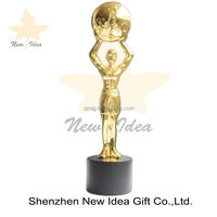 tailor-made shape of trophy souvenir awards with holder logo world ball trophy awards