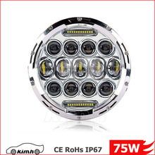 High beam and low beam 75W Motorcycle 7 inch led head light