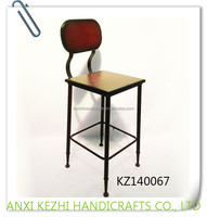 KZ140067 Wrought iron wooden metal bar stools