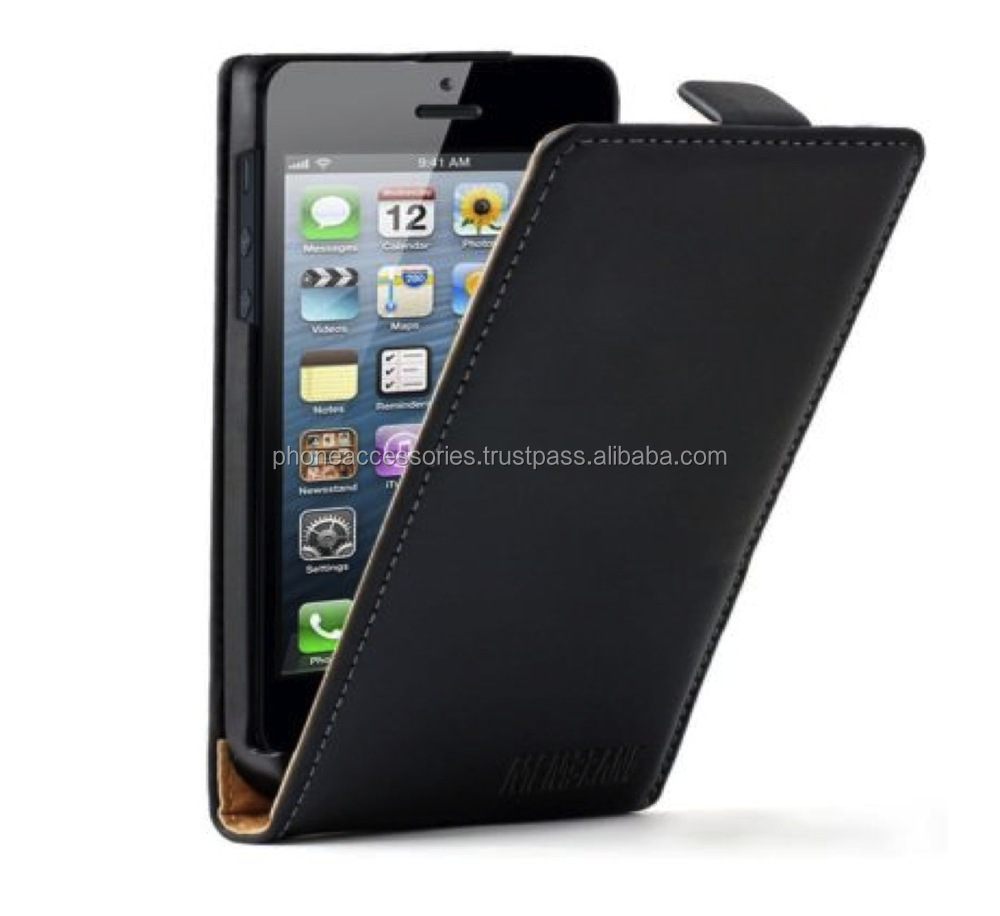 Elegant Black Leather Flip Cover case for iPhone 6, iPhone 5 and iPhone 4 and for Samsung S5 and Note 3