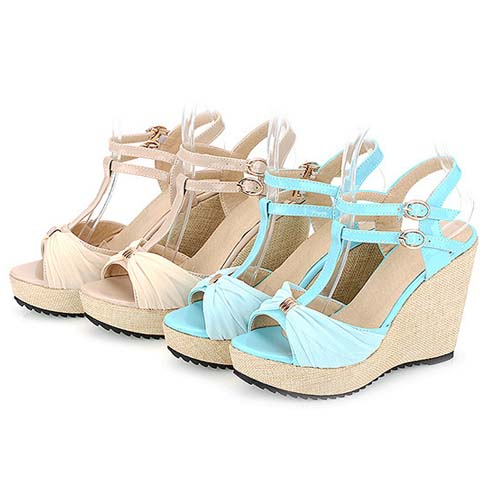 SE1037 2014 New Women's Summer High Heel Leather Silk Double Buckle Sandals For Wholesale
