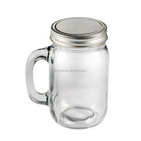 hot sale glass mason jar with handle
