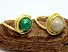 Malachite Semi Precious Stones,Gemstone Wire Wrapped Ring Labradorite