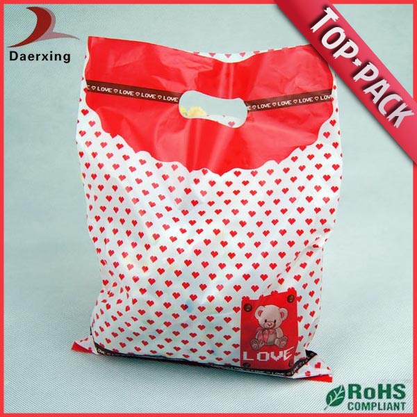 printing exquisite newly design bags on roll hand hole die cut bag