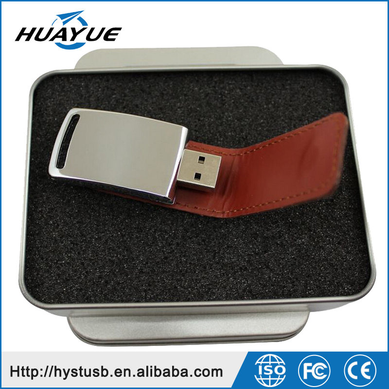 Hi-Speed Full Capacity 2.0/3.0 Leather Case Flash Memory USB Stick With Tin Box