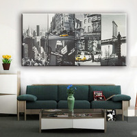 Black and white design cheap decor city buildings wall picture 6 pictures canvas art painting