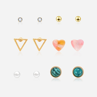 Hot Sell 6pcs/Set Fashion Pearl Beaded Heart Stud Earrings Triangle Shape Lovely Jewelry Earring Stud Set