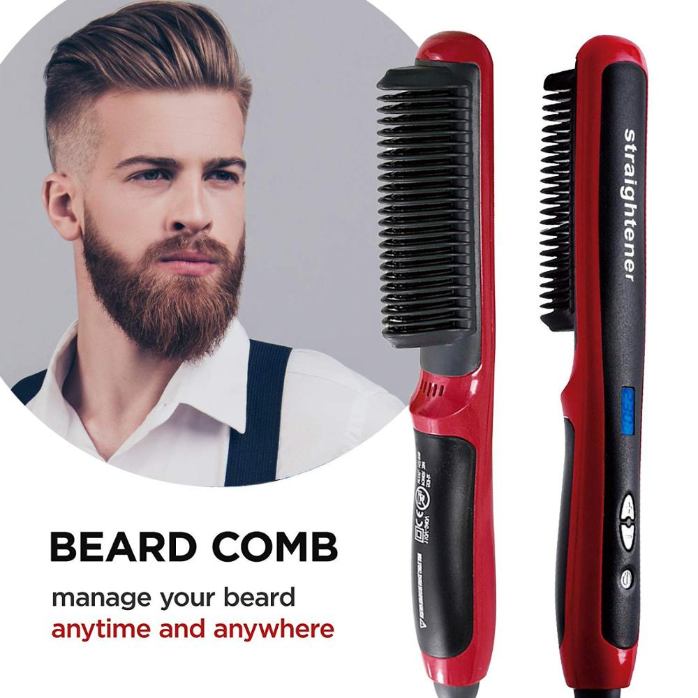 Drop ship Men Beard Straightener Multifunctional Beard Hair Straightening Irons Comb Quick Hair Styler Beard Smoothing Comb