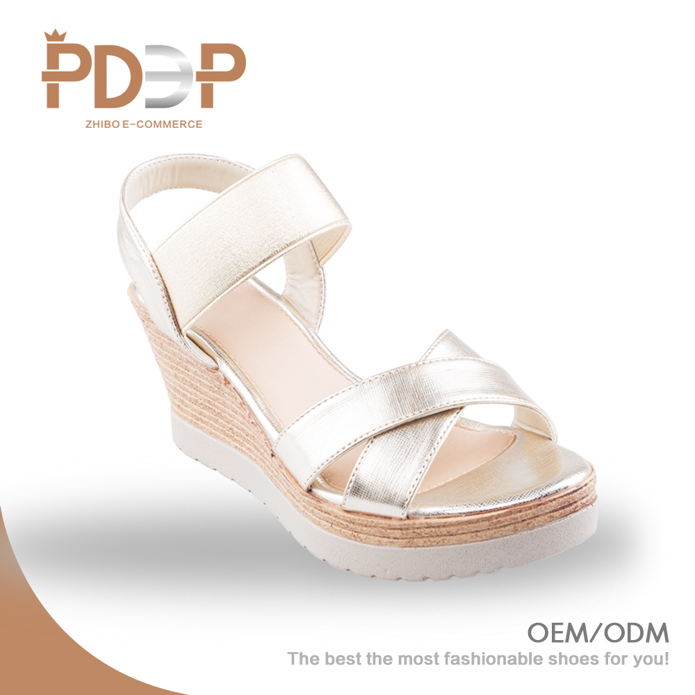 High heel wedge latest design sexy gold white sandal lady fashion shoe