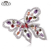 Multicolor Crystal Brooch Luxury Wedding Rhinestone Butterfly Brooches Fashion Bridal Bridesmaid Party Zircon Jewelry