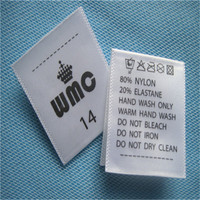 custom center fold printed washing care/instruction labels for garment