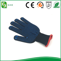 Cotton drill polka dotted gloves/cotton gloves with pvc dots/cotton pvc dotted work glove