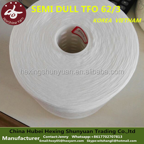 100 spun polyester yarn for sewing thread TFO Ne62/3 RW semi dull