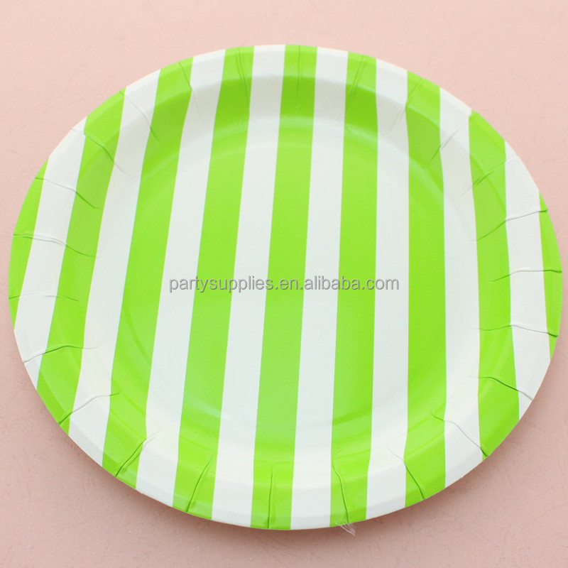Light Green Sailor Striped Paper Dish,Party Paper Plate for Party Favors