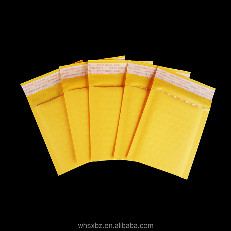 Custom Poly Kraft Bubble Padded Mailer Envelope In Yellow