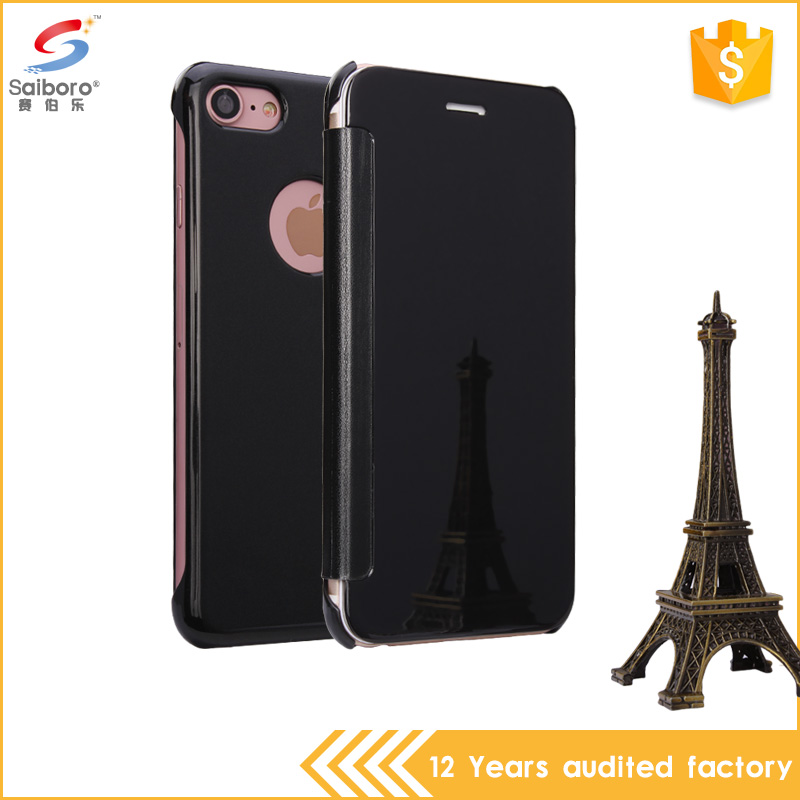 Hot selling product electroplating mirror handy cover for iPhone7 with flip bumper