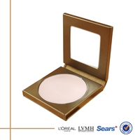 OEM luxury bronze pu empty makeup compact case for powder