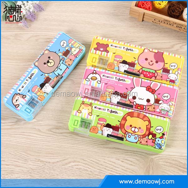 Office & School Supplies plastic pvc creative multifunctional stationery pencil case with sharpener and oem design S014