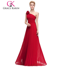Grace Karin One Shoulder Strapless Red Chiffon Long Prom Dress CL3467-2