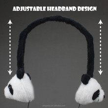 OEM China Factory adjustable warmer earmuffs plush panda animal head shape earmuffs