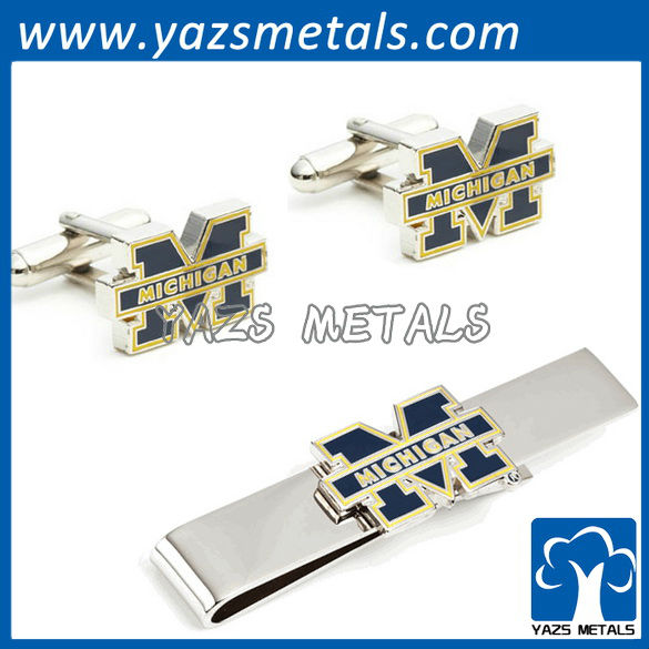 Silver Edition Michigan wolverines bars and cufflinks, custom made metal tie clip with design