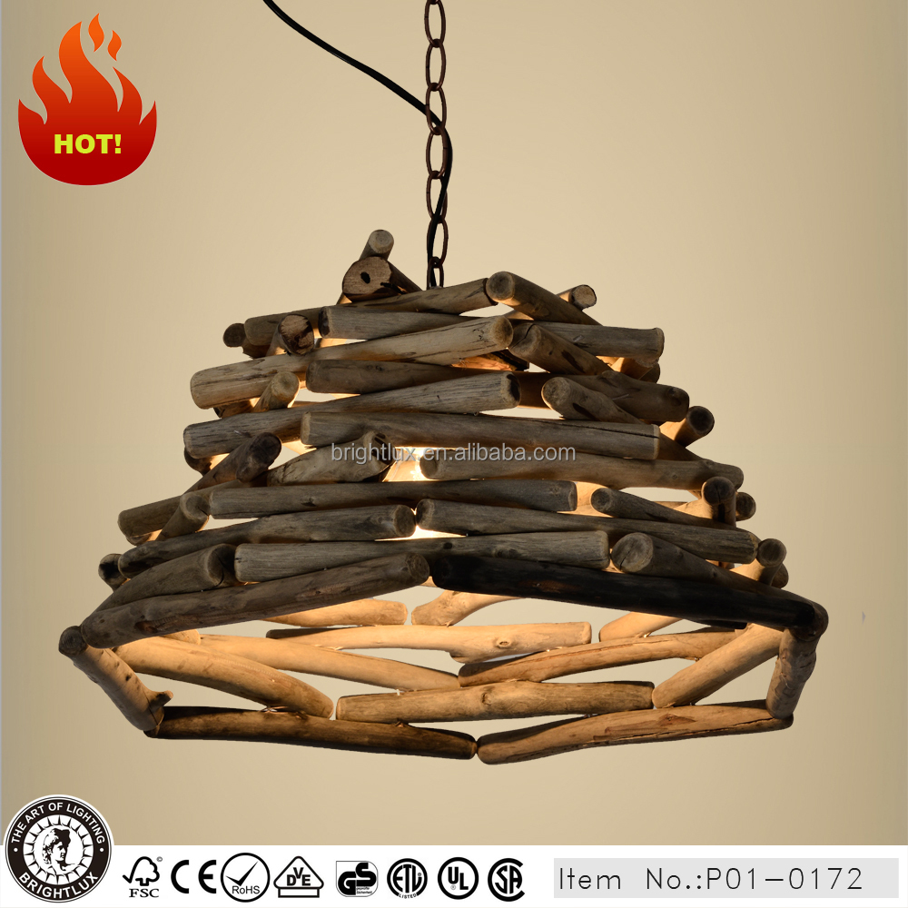 rural driftwood pendant light for restaurant P1-0172