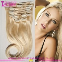 Virgin European Human Hair Blonde Hair Extension #613 Clip In Extensions