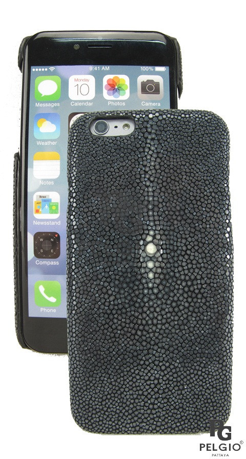 "PELGIO Genuine Polished Stingray Skin i6+ 5.5"" Mobile Phone Hard Case Black"