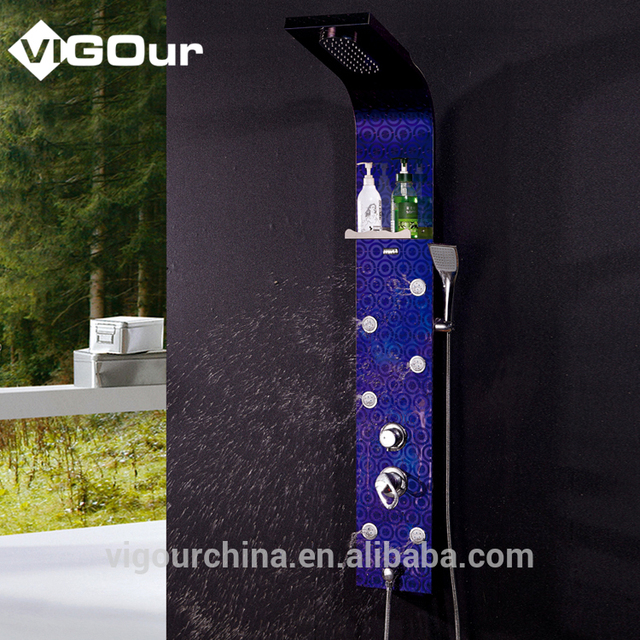 China Manufacturer Led Lights Rain Shower Column,Shower Panel with Jets On Sale # BS-6974